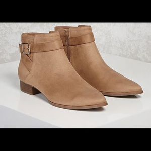 Faux Suede Ankle Boots - Tan